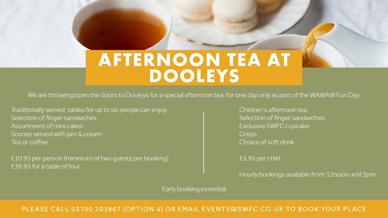 9c67205059fc Afternoon Tea at Dooley s! - News - Sheffield Wednesday